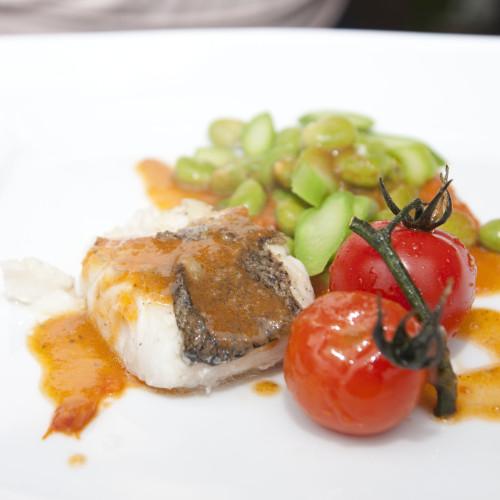 Vis met tuinboontjes